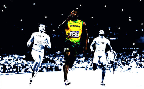 Speed Record Mixed Media - Usain Bolt Once Again by Brian Reaves