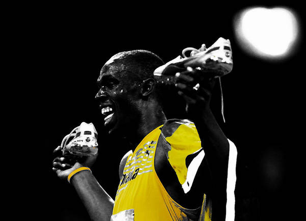 Speed Record Mixed Media - Usain Bolt Secret Weapon by Brian Reaves
