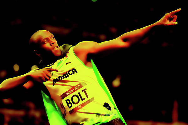 Speed Record Mixed Media - Usain Bolt The Fastest Man On Earth by Brian Reaves