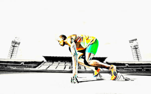 Speed Record Mixed Media - Usain Bolt The Fastest Man On The Planet by Brian Reaves