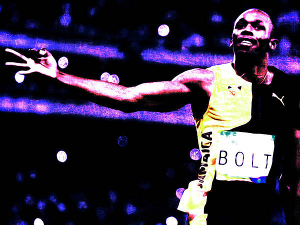 Speed Record Mixed Media - Usain Bolt Three Gold Medals by Brian Reaves
