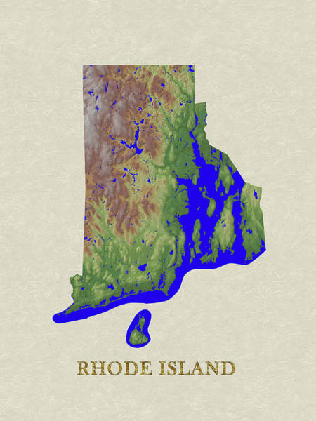 Rhode Island Digital Art - Usgs Map Of Rhode Island by Elaine Plesser
