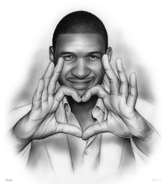 Actor Drawing - Usher by Greg Joens