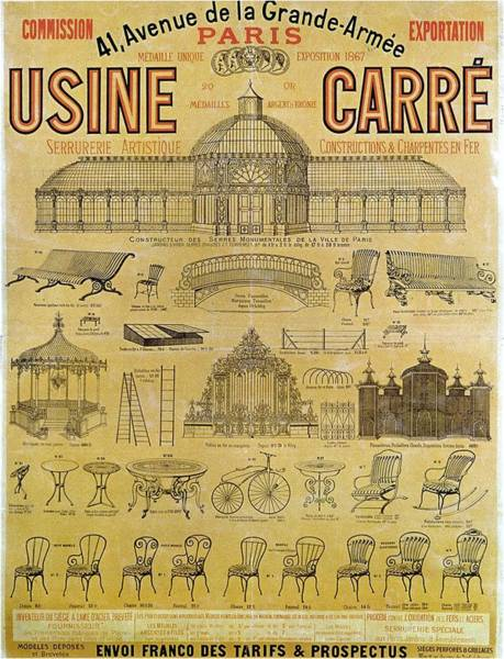 Wall Art - Mixed Media - Usine Carre, Paris - Exposition 1867 - Vintage Furniture Advertising Poster by Studio Grafiikka