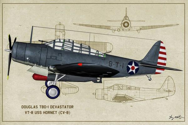 Uss Hornet Digital Art - Usn Devastator - Profile Art by Tommy Anderson