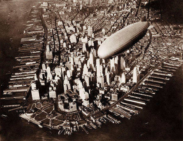 Wall Art - Photograph - Uss Akron Flying Over New York City - Circa 1932 by War Is Hell Store