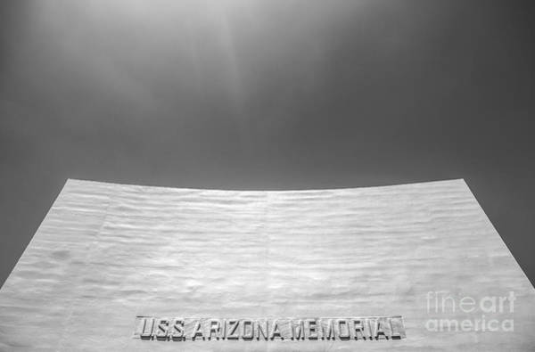Uss Arizona Wall Art - Photograph - Uss Arizona Memorial In Black And White by Diane Diederich