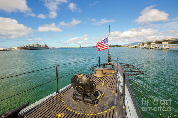 Uss Bowfin Photograph - Uss Bowfin Submarine Flag by Benny Marty