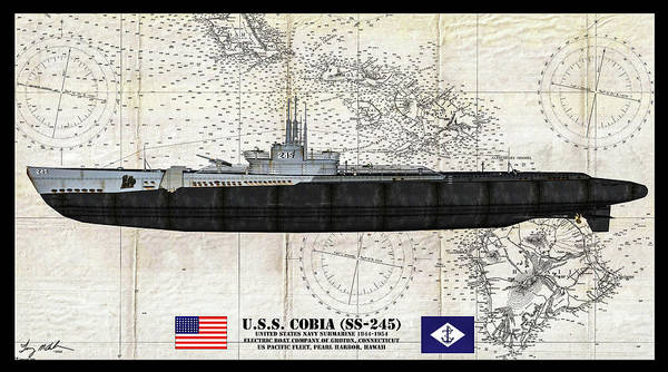Wall Art - Digital Art - Uss Cobia Profile - Oil by Tommy Anderson