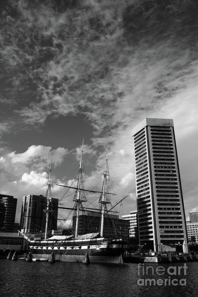 Photograph - Uss Constellation And Inner Harbor In Monochrome Baltimore by James Brunker