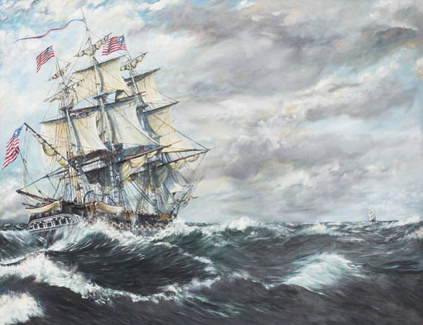 Maritime Painting - Uss Constitution Heads For Hm Frigate Guerriere by Vincent Alexander Booth