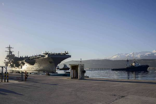 Wall Art - Painting - Uss George H.w. Bush Arrives In Souda Bay For A Scheduled Port Visit. by Celestial Images