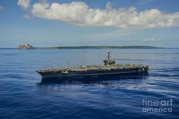 Uss George Washington Wall Art - Painting - Uss George Washington Passes Iwo Jima. by Celestial Images