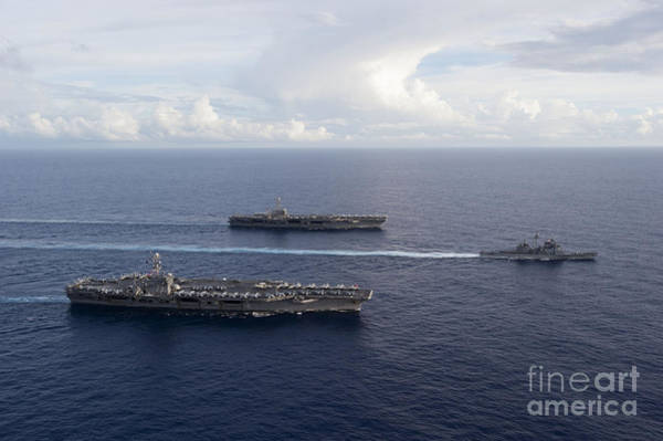 Uss George Washington Wall Art - Photograph - Uss George Washington, Uss John C by Stocktrek Images