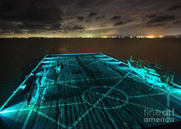 In Service Painting - Uss Green Bay  In Blue by Celestial Images