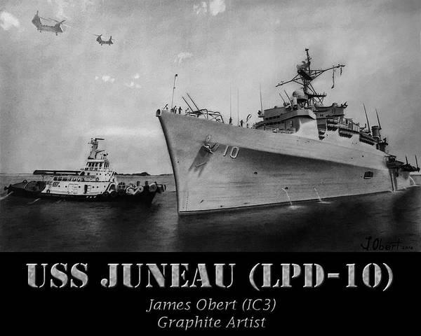 Ocean Drawing - Uss Juneau Lpd 10 by James Obert