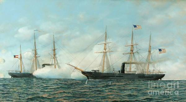 Wall Art - Painting - U.s.s. Kearsage Vs C.s.s. Alabama by Pg Reproductions