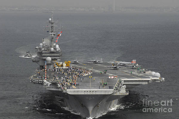 Flight Deck Photograph - Uss Kitty Hawk by Stocktrek Images