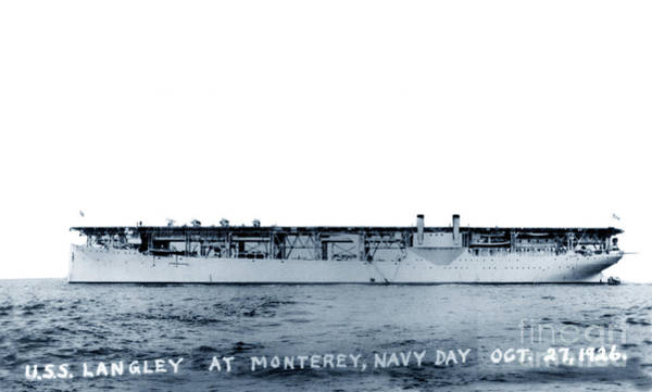 Photograph - Uss Langley Cv-1 Off Monterey, California, On Navy Day, 27 Oct 1926 by California Views Archives Mr Pat Hathaway Archives