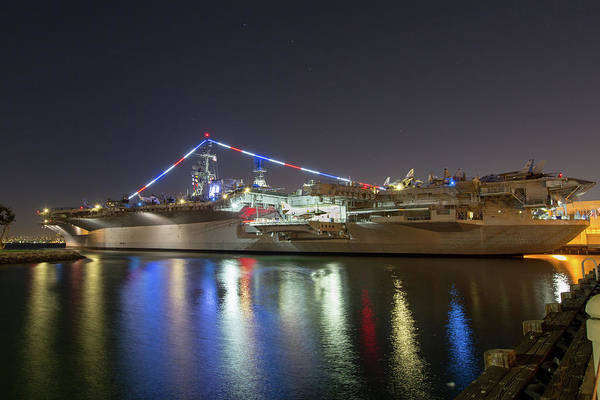 Photograph - Uss Midway Museum At Night by M C Hood