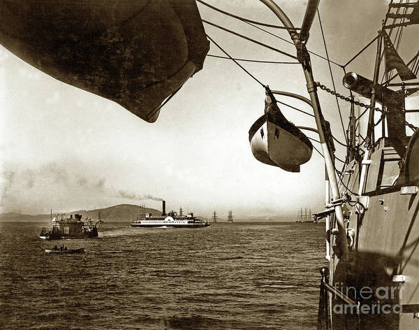Photograph - Uss Monitor Camanche And Ferry Bay City Circa 1899 by California Views Archives Mr Pat Hathaway Archives