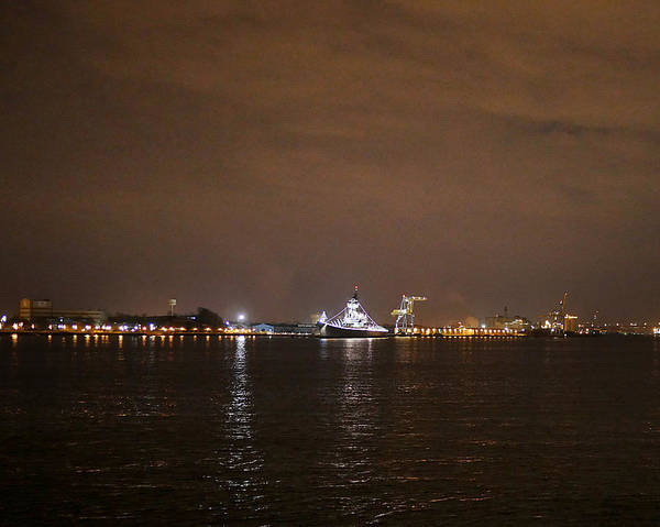 Photograph - Uss New Jersey At Night by Richard Reeve