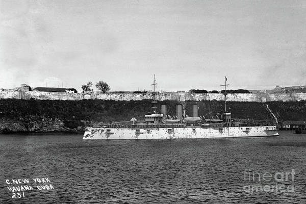 Photograph - Uss New York Acr-2 Armored Cruiser In Havana Harbor, Cuba by California Views Archives Mr Pat Hathaway Archives