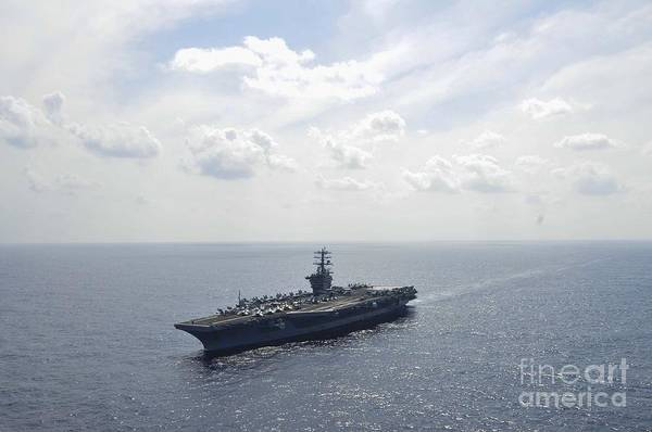 In Service Painting - Uss Nimitz In The Pacific Ocean by Celestial Images