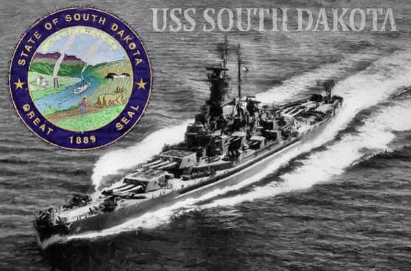 Digital Art - Uss South Dakota by JC Findley