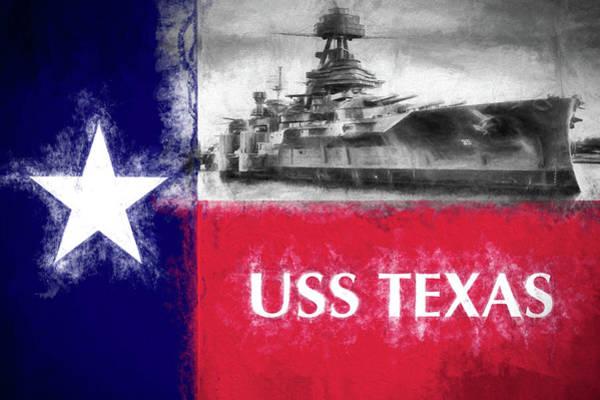 Digital Art - Uss Texas Flag by JC Findley