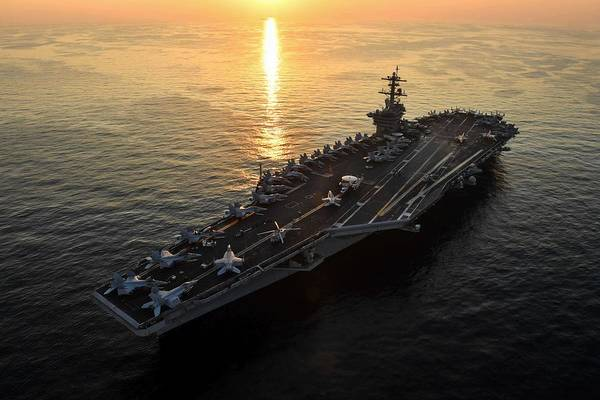 Wall Art - Painting - Uss Theodore Roosevelt Cvn 71 Transits The Arabian Gulf. by Celestial Images