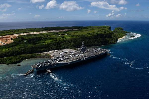 Wall Art - Painting - Uss Theodore Roosevelt Departs Guam by Celestial Images