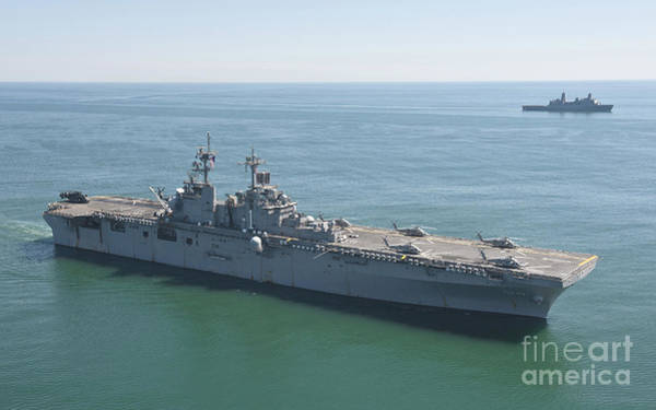 Amphibious Assault Ship Wall Art - Photograph - Uss Wasp And Uss San Antonio Transit by Stocktrek Images