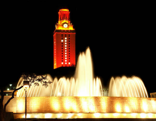 Clock Tower Photograph - Ut Tower Championship Win by Marilyn Hunt