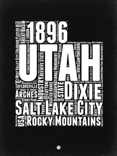 Wall Art - Digital Art - Utah Black And White Word Cloud Map by Naxart Studio