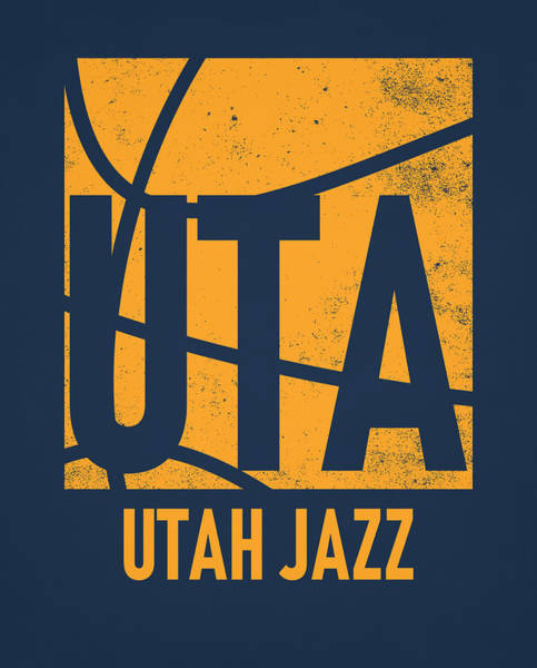 Wall Art - Mixed Media - Utah Jazz City Poster Art by Joe Hamilton