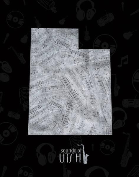 Wall Art - Digital Art - Utah Map Music Notes 2 by Bekim M