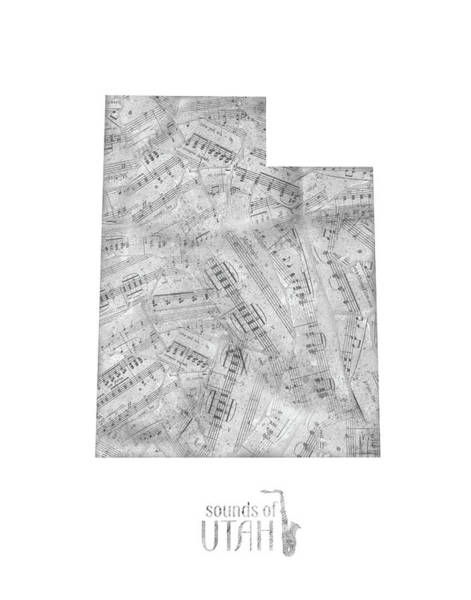 Wall Art - Digital Art - Utah Map Music Notes by Bekim M