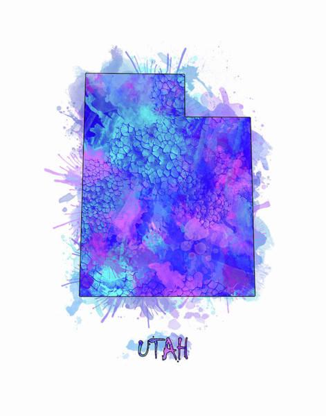 Wall Art - Digital Art - Utah Map Watercolor 2 by Bekim M
