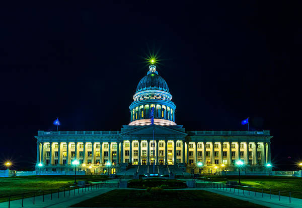 Photograph - Utah State Capitol Lights by TL  Mair