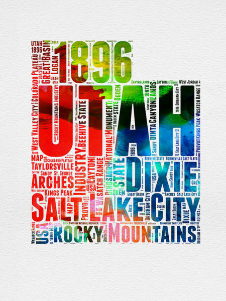 Wall Art - Digital Art - Utah Watercolor Word Cloud Map by Naxart Studio