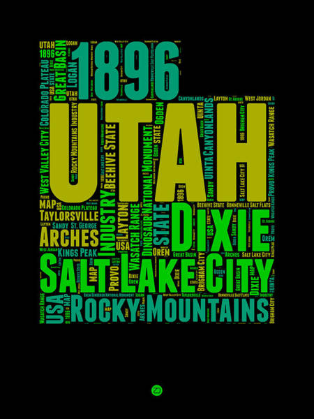 Wall Art - Digital Art - Utah Word Cloud Map 1 by Naxart Studio