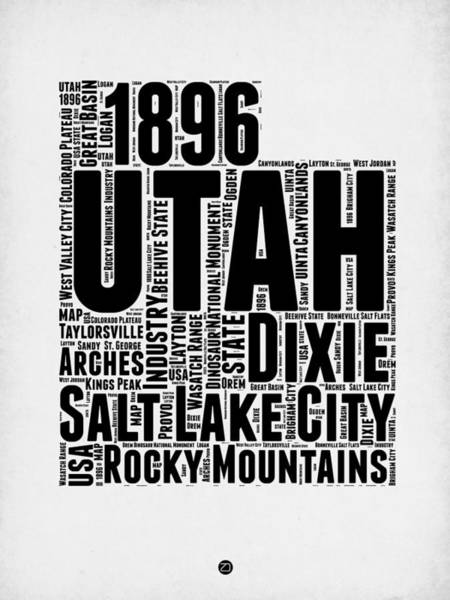 Wall Art - Digital Art - Utah Word Cloud Map 2 by Naxart Studio