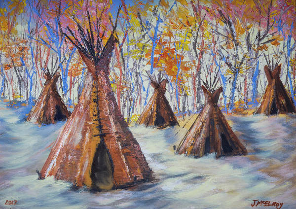 Indian Camp Painting - Ute Winter by Jerry McElroy