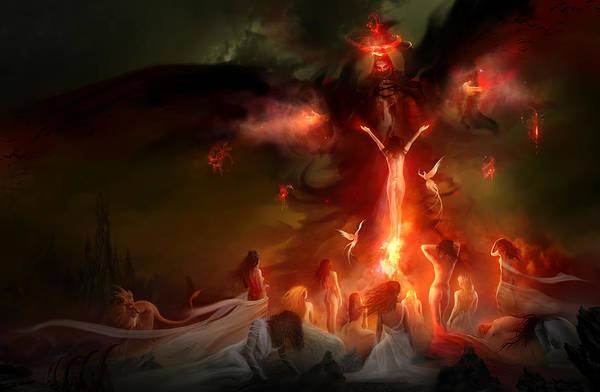 Lust Wall Art - Painting - Utherworlds Hellzunas by Philip Straub