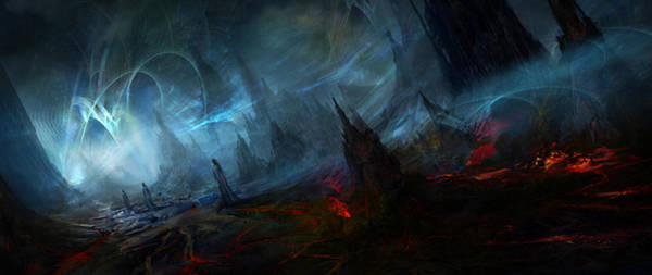 Fractal Landscape Wall Art - Painting - Utherworlds Nightmist by Philip Straub