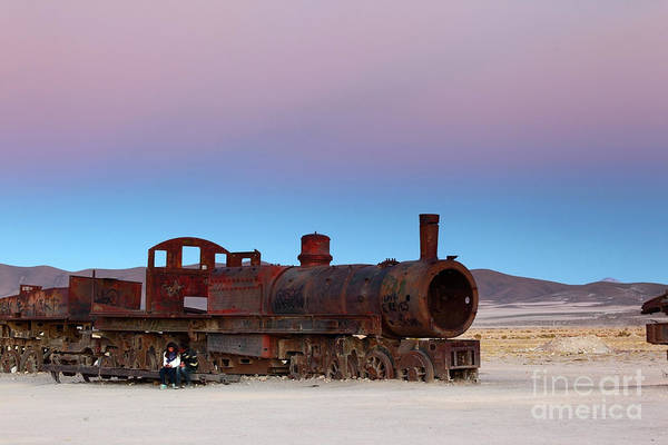 Photograph - Uyuni Train Cemetery At Sunset by James Brunker