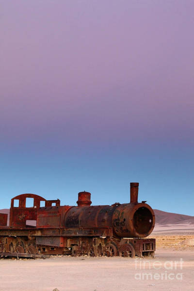 Photograph - Uyuni Train Graveyard At Sunset by James Brunker