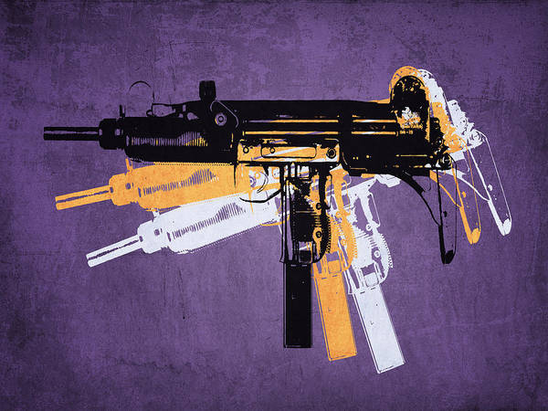 Machines Digital Art - Uzi Sub Machine Gun On Purple by Michael Tompsett