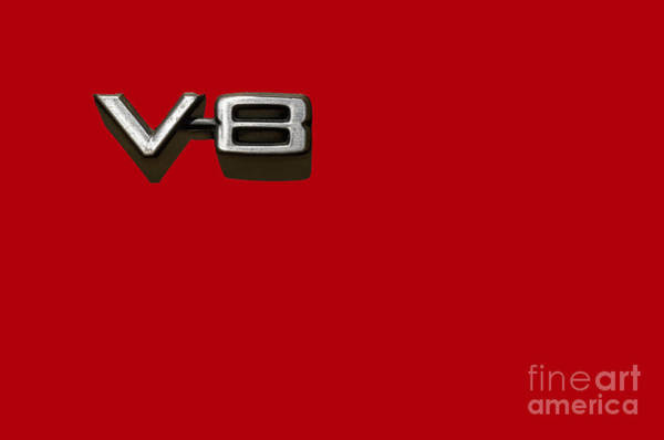 Photograph - V8 Sign On Red by Les Palenik